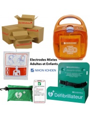Pack AED 2100 Nihon Kohden Défibrillateur Electrodes Mixtes